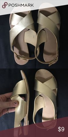 American eagle gold sandals Super comfortable! Only worn once, in great condition! American Eagle Outfitters Shoes Sandals