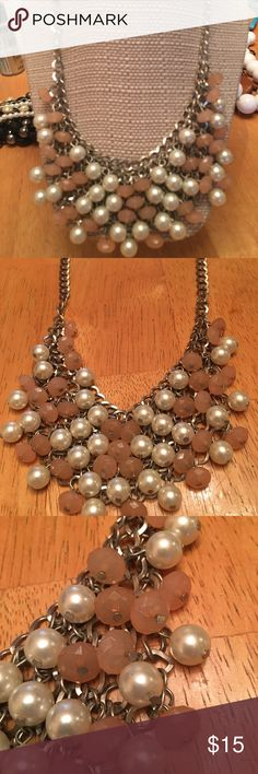 Bib style Pearls and pink on silver. Good condition fashion jewelry. Jewelry Necklaces