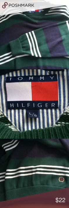 Tommy Hilfiger sweater Comfortable Tommy Hilfiger sweater, 10/10 condition, green blue and white Tommy Hilfiger Sweaters
