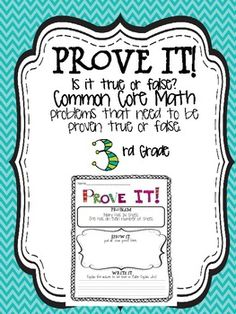 Prove it! {3rd grade Common Core math problems}