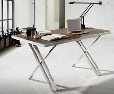 Perseus, stainless steel frame desk with walnut, oak or black glass top