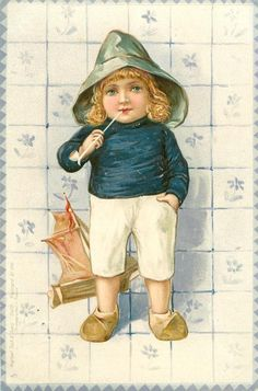 3758 - Set of 6, DELFT, Dutch people, tiles, series 2 - 1902