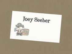 Set of 10 Custom Pirate Calling Cards - Gift Enclosure Cards for Little Boys by CardsByKooper on Etsy