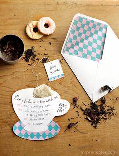 Adorable DIY Tea Party Invitations | Easy Tea Party Invites by DIY Ready at http://diyready.com/kids-tea-party-ideas/