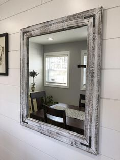 Whitewash wood framed mirror All SIZES INCLUDE FRAME. Please read the item details to see the dimensions difference between the outside frame size and the inside mirror size. This is the stain color under the whitewash finish: Rustic Mirrors, Wood Framed Mirror, Diy Mirror, Farmhouse Mirrors, Contemporary Small Bathrooms, Distressed Mirror, Drawer Design, Wall Design, Wood Sample