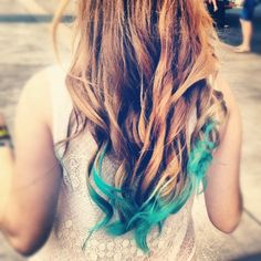 My turquoise dip dyed hair