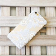 "Clear Plastic Case Cover iPhone 6Plus (5.5"") Henna Efflorescent Floral Paisley"