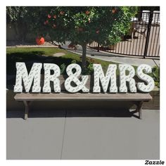 "Shop Custom Red ""MR & MRS"" Vintage Marquee Sign created by rustalgic. Marquee Letters, Light Letters, Marquee Lights, Outdoor Gardens, Indoor Outdoor, Galvanized Sheet Metal, Sign Lighting, Country Wedding Invitations, Best Wedding Gifts"