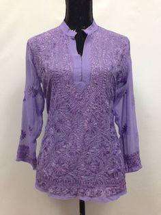 Lucknowi Embroidery Short Kurti - Purple Short Kurti Designs, Embroidered Shorts, Short Tops, Pattern Design, Bell Sleeve Top, Chiffon, Tunic Tops, Embroidery, Purple