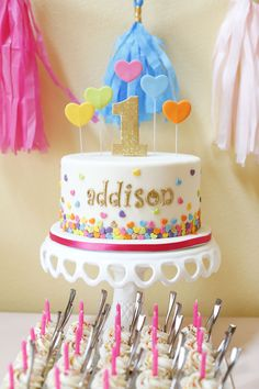 First Birthday Cake - love the colorful heart confetti!