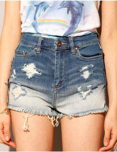 Bleach high waist shorts [Bla3000] - $30.00 : Pixie Market, Fashion-Super-Market