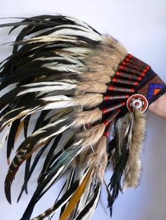 Indian headdress White and natural color by THEWORLDOFFEATHERS