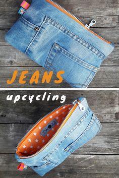 Die 2. Chance für deine Jeans! Aus der alten Hose wurde ein hippes Täschchen. Und sogar die Hosentaschen können für Kleinkram genutzt werden. Eine richtig coole upcycling Idee.
