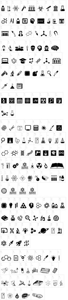 Science Icons by Woodcutter on dafont.com Link: http://www.dafont.com/science-icons.font