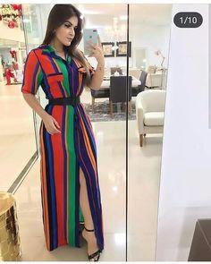"""bb231fc19 Moda Evangélica 👑 Sorteios 🔝 on Instagram: """"Amei a junção dessas cores  nesse longo 😍 e a modelagem também deu aquele charme! Quem mais aí gostou?"""