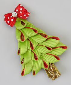 Take a look at this The Hair Candy Store Lime Green Ruffle Holiday Tree Clip on zulily today!