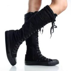 Black Lace Up Knee High Boots Canvas Sneakers