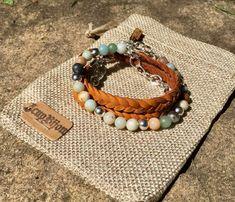 Bracelets femme boho chic à enrouler cuir tan pierres