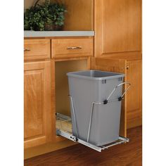 19 in. H x 11 in. W x 22 in. D Single 35 Qt. Pull-Out Silver and Chrome Waste Container with Rear Basket, Silver Metallic