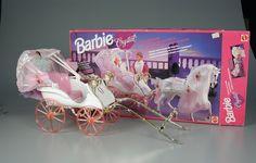 Barbie Crystal Carriage and Horse 1991 Barbie 1990, Vintage Barbie Dolls, Barbie And Ken, Vintage Toys, Childhood Toys, Childhood Memories, Barbie Horse, Barbie Movies, Barbie Stuff