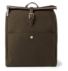 Mismo Leather-Trimmed Wool-Twill Backpack | MR PORTER