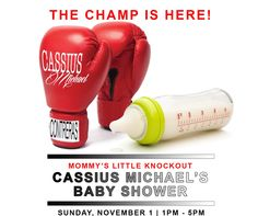 My husband made these Baby Shower invitations-  Boxing theme invitation