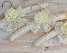 Wedding Hanger Wedding Bridal Hanger Bridesmaid Hanger Bridal Accessory Shabby Chic Rustic Satin Lace Ivory Rose Set Of 3