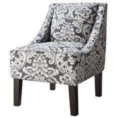 Swoop Upholstered Accent Chair - Damask Indigo