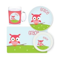 Owl Personalised Kids Mealtime Set $32.95 - $39.95 #sweetcreations #baby #toddlers #kids #personalised Owl Kids, Personalized Plates, Handwriting Practice, Daughter Of God, Cold Drinks, Cleaning Wipes, Lettering, Sweet, Gifts