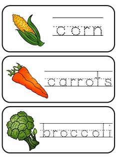 Fruit and vegetable tracing and writing cards.
