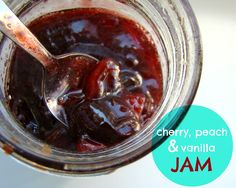 Cherry, peach & vanilla jam Family Feedbag: makes enough to fill five to six 250 ml/8 oz jam jars  2 lbs fresh cherries, stems removed, pitted and halved 2 lbs fresh peaches, skins removed (see above), pitted and chopped into 1-inch chunks 4 1/2 cups granulated white sugar 1/4 cup lemon juice 2 tsp vanilla extract