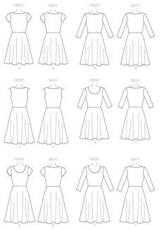 M7313 | Misses'/Women's Flared Dresses Sewing Pattern | McCall's Patterns Simple Dress Pattern, Dress Patterns, Pattern Dress, Simple Dresses, Plus Size Dresses, Sewing Basics, Basic Sewing, Sewing Tips, Sewing Projects