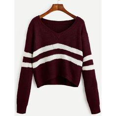 Burgundy Striped V Neck Crop Sweater ($15) ❤ liked on Polyvore featuring tops, sweaters, shirts, burgundy, cropped sweater, v neck long sleeve shirt, v-neck sweater, long-sleeve crop tops and long sleeve shirts