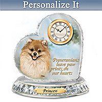 Pomeranian Crystal Heart Personalized Clock