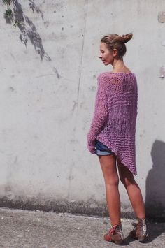 Pink lightweight  grunge loose knit sweater by ileaiye on Etsy, $115.00