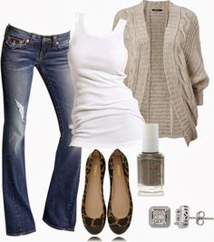 Casual Outfits   Grey Cardigan