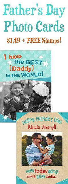 Father's Day Personalized Photo Cards: $1.49 + FREE Stamp! #fathersday #thefrugalgirls