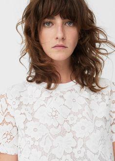Camiseta algodón encaje | MANGO