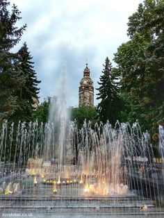 """The """"Singing Fountain""""in the back of the State Theatre,Kosice Slovakia River Cruises In Europe, Macedonia Greece, Visit Budapest, Bratislava Slovakia, Central And Eastern Europe, Heart Of Europe, Overseas Travel, Travel Goals, Countries Of The World"""