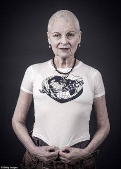 As well as designing the t-shirt Dame Westwood also posed for a photo.