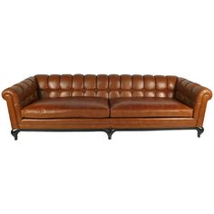 Biscuit Tufted Leather Sofa by Maurice Bailey for Monteverdi-Young   From a unique collection of antique and modern sofas at https://www.1stdibs.com/furniture/seating/sofas/