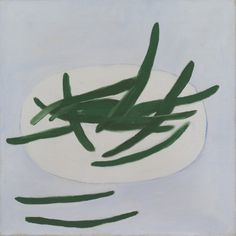 """cinoh:  """"William Scott, Green Beans on a White Plate, 1977-78, oil on canvas, 51 x 50.8 cm  """""""