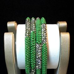 Green Stone and Beaded Bangles