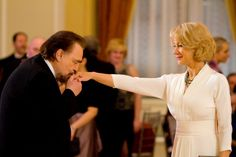 """Victoria ( Helen Mirren ) takes out the CIA in this exquisite white gown with silver/grey jewelry """"Red"""", 2010 The Last Station, Red 2010, Dame Helen, Red Pictures, Helen Mirren, Bruce Willis, Dressy Dresses, Elegant Dresses, White Gowns"""