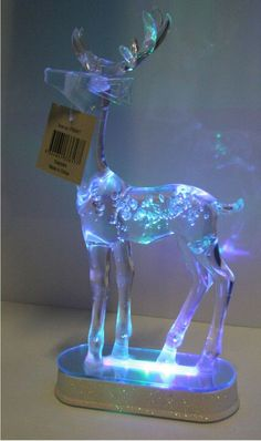 Shabby Lights Up Lit LED Table Centerpiece Xmas Display Shimmer Reindeer Deer Nw