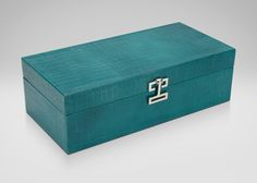 Buy Ethan Allen's Long Turquoise Croc Box or browse other products in Boxes. Shades Of Turquoise, Teal, Aqua Color, Color Tones, Colour, Jewelry Box Makeover, Painted Wooden Boxes, Ceramic Boxes, Designer Clutch