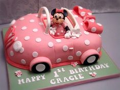 Minnie Car Cake for Magnificent Birthday Parties Boys Birthday Cakes Easy, Toy Story Birthday Cake, Make Birthday Cake, Birthday Parties, Minnie Mouse Car, Minnie Mouse Birthday Cakes, Bolo Minnie, Minnie Cake, Car Cake Tutorial