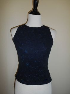 90s Vintage black blue sparkle glitter top by ATELIERVINTAGESHOP