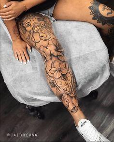 Tattoo Inkspiration on Instagram: @jaicheong Unique Half Sleeve Tattoos, Best Sleeve Tattoos, Unique Tattoos, Small Tattoos, Black People Tattoos, Leg Tattoos Women, Finger Tattoos, Body Art Tattoos, Girl Tattoos