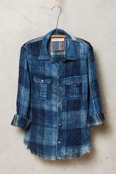 Patchwork denim shirt. Suffolk Buttondown - anthropologie.com